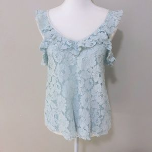 Light Blue Sheer Ruffled Tank